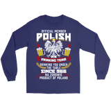 Official Member Of The Polish Drinking Team - Gildan Long Sleeve Tee / Purple / S - Polish Shirt Store