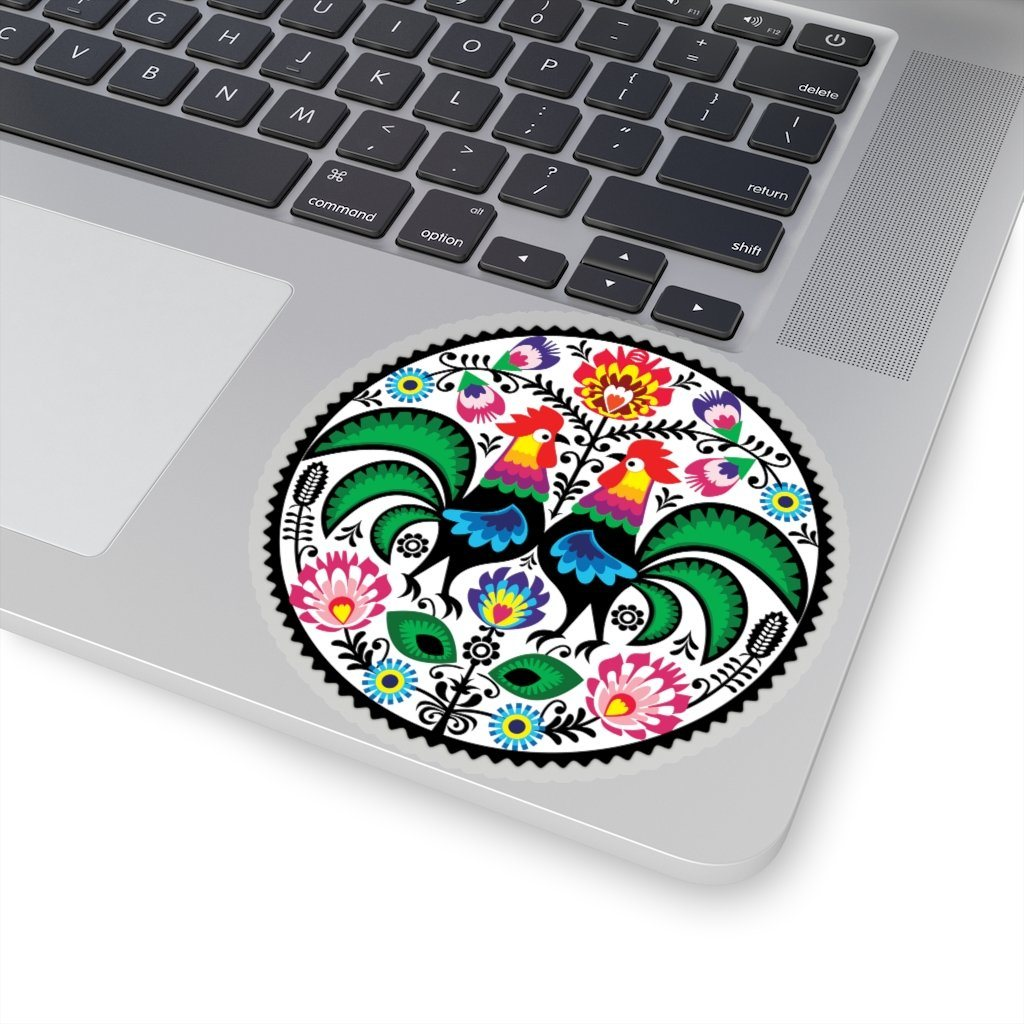 "Polish Folk Art Circle Sticker - 4x4"" / Transparent - Polish Shirt Store"