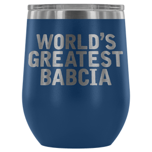 World's Greatest Babcia Wine Tumbler - Blue - Polish Shirt Store