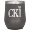 Polish Surname Ending in CKI Wine Tumbler - Pewter - Polish Shirt Store