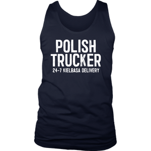 Polish Trucker 24-7 Kielbasa Delivery - District Mens Tank / Navy / S - Polish Shirt Store