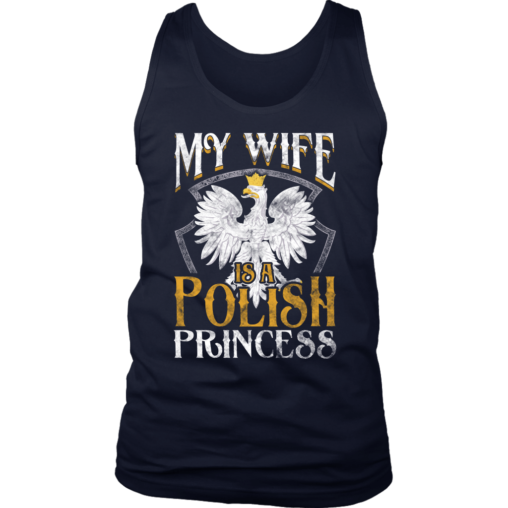 My Wife Is A Polish Princess - District Mens Tank / Navy / S - Polish Shirt Store