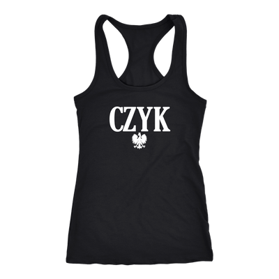 Polish Surnames ending in CZYK - Next Level Racerback Tank / Black / XS - Polish Shirt Store