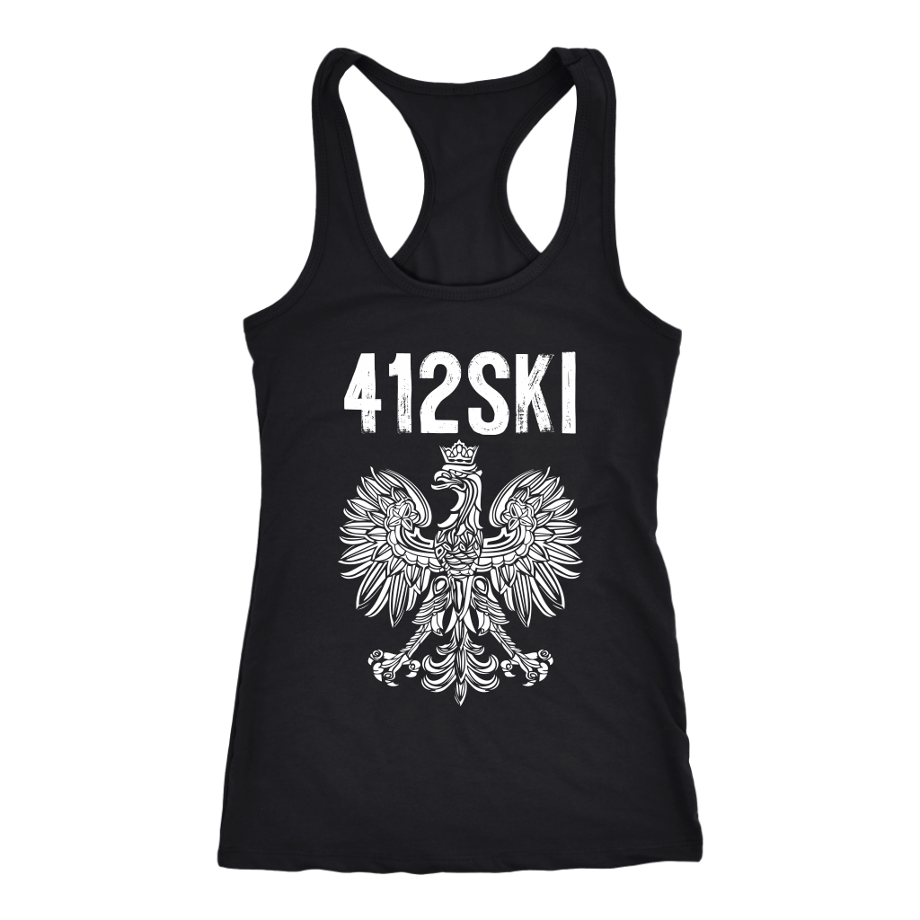 412SKI Pittsburgh Polish Pride Tank Tops - Next Level Racerback Tank / Black / XS - Polish Shirt Store