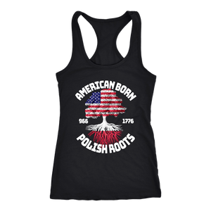 American Born With Polish Roots - Next Level Racerback Tank / Black / XS - Polish Shirt Store
