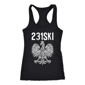 Michigan Polish Pride Tank Tops - Area Code 231 - Next Level Racerback Tank / Black / XS - Polish Shirt Store