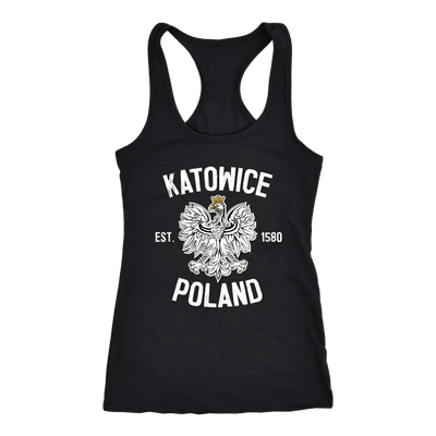 Katowice Poland - Next Level Racerback Tank / Black / XS - Polish Shirt Store
