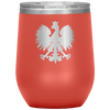 Polish Eagle Insulated Wine Tumbler With Lid - Coral - Polish Shirt Store