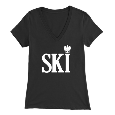 Polish Surnames Ski Womens V-Neck Shirts - Bella Womens V-Neck / Black / S - Polish Shirt Store