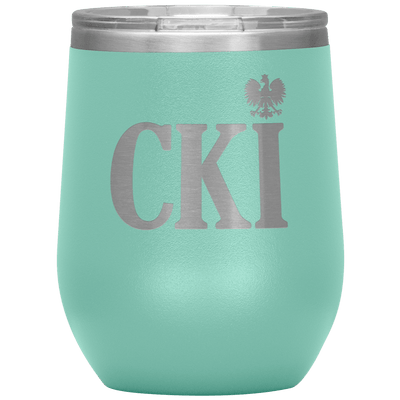 Polish Surname Ending in CKI Wine Tumbler - Teal - Polish Shirt Store