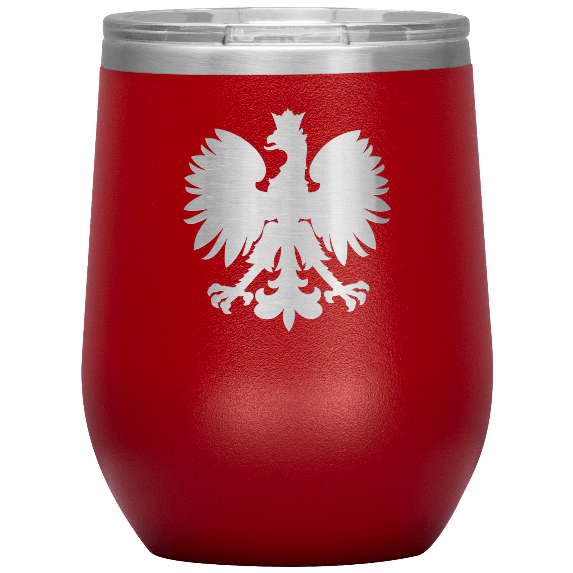 Polish Eagle Insulated Wine Tumbler With Lid - Red - Polish Shirt Store
