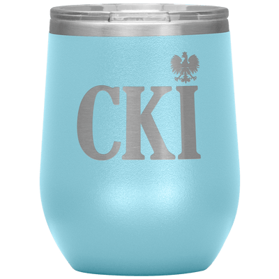 Polish Surname Ending in CKI Wine Tumbler - Light Blue - Polish Shirt Store
