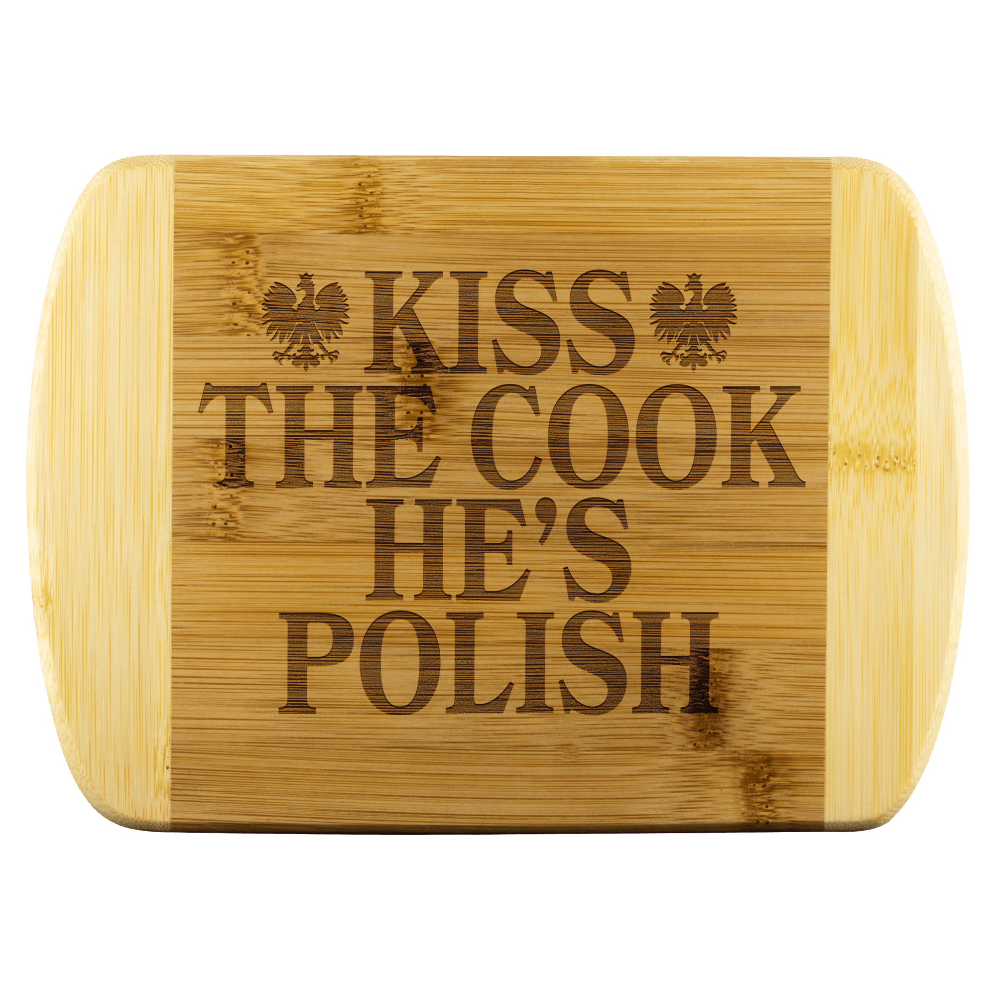 "Kiss The Cook He's Polish Cutting Board - Small - 8""x5.75"" - Polish Shirt Store"