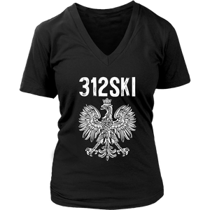 312SKI Illinois Polish Proud - District Womens V-Neck / Black / S - Polish Shirt Store