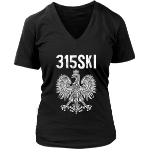 Syracuse NY - 315 Area Code - Polish Pride - District Womens V-Neck / Black / S - Polish Shirt Store