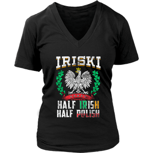 IRISKI Half Irish Half Polish - District Womens V-Neck / Black / S - Polish Shirt Store