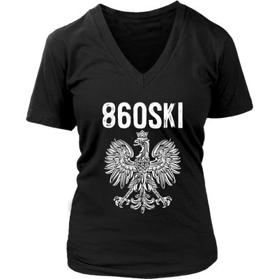 Hartford Connecticut - 860 Area Code - Polish Pride - District Womens V-Neck / Black / S - Polish Shirt Store