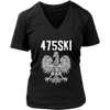 Bridgeport Connecticut - 475 Area Code - Polish Pride - District Womens V-Neck / Black / S - Polish Shirt Store