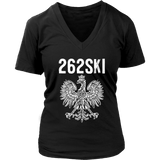 Wisconsin Polish Pride - 262 Area Code - District Womens V-Neck / Black / S - Polish Shirt Store
