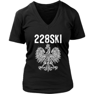 Mississippi Polish Pride - 228 Area Code - District Womens V-Neck / Black / S - Polish Shirt Store