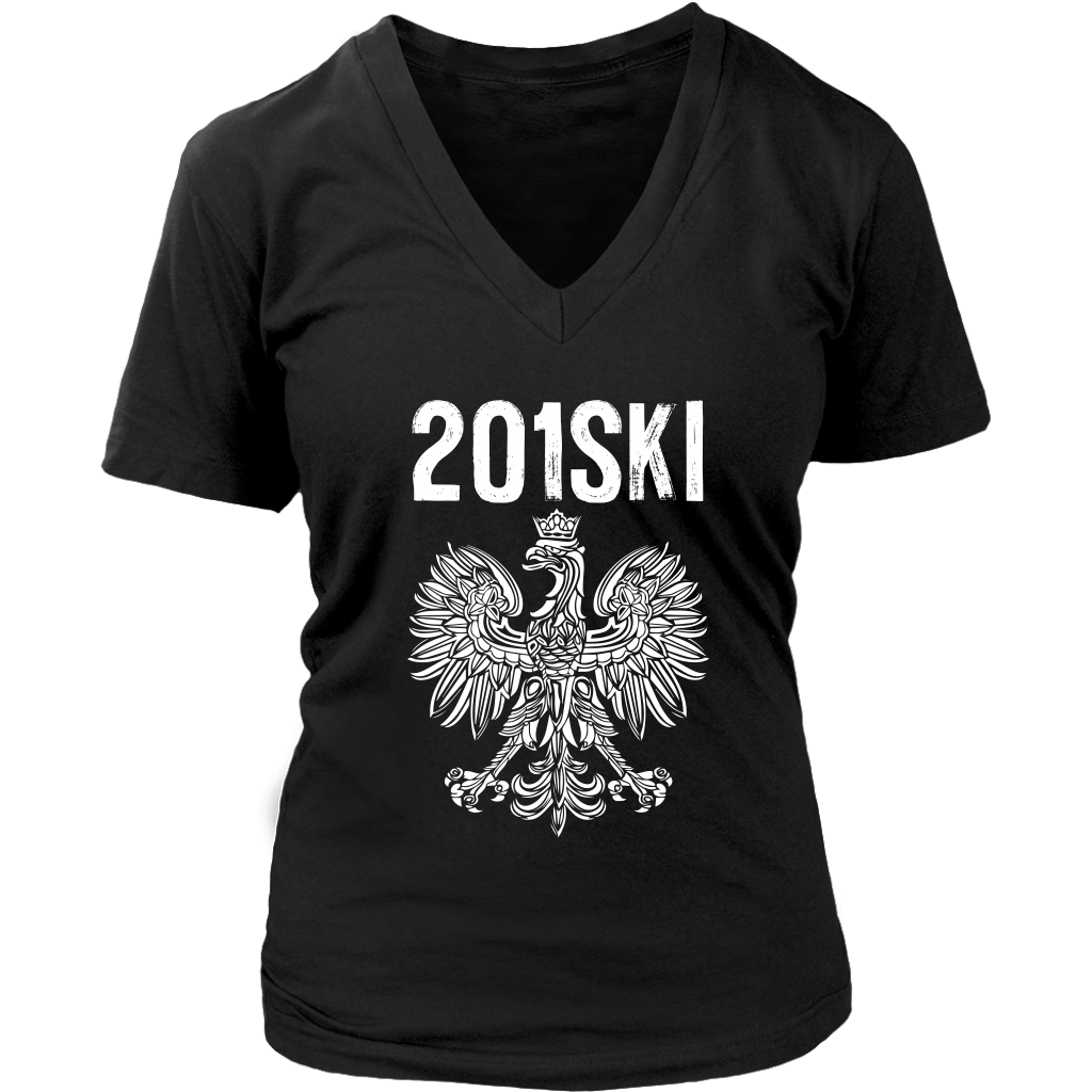 New Jersey Polish Pride - Area Code 201 - District Womens V-Neck / Black / S - Polish Shirt Store