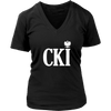 Polish Surname Ending With CKI - District Womens V-Neck / Black / S - Polish Shirt Store