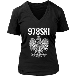 Lowell Massachusetts - 978 Area Code - Polish Pride - District Womens V-Neck / Black / S - Polish Shirt Store