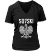 507SKI Minnesota Polish Pride - District Womens V-Neck / Black / S - Polish Shirt Store