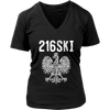 Cleveland Ohio - 216 Area Code - 216SKI - District Womens V-Neck / Black / S - Polish Shirt Store