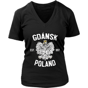 Gdansk Poland - District Womens V-Neck / Black / S - Polish Shirt Store