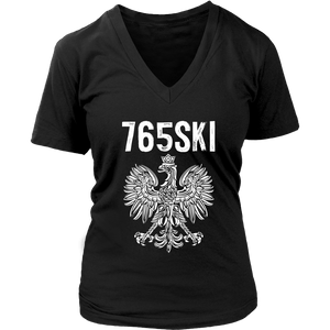 765SKI Indiana Polish Pride - District Womens V-Neck / Black / S - Polish Shirt Store