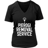 Pierogi Removal Service - District Womens V-Neck / Black / S - Polish Shirt Store