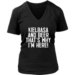 Kielbasa And Beer That's Why I'm Here - District Womens V-Neck / Black / S - Polish Shirt Store