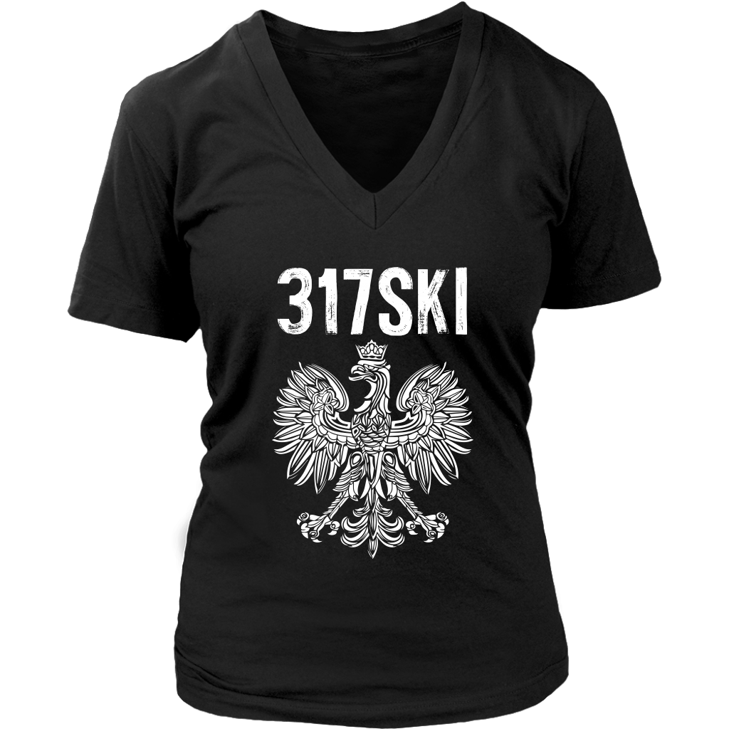 317SKI Indiana Polish Pride - District Womens V-Neck / Black / S - Polish Shirt Store