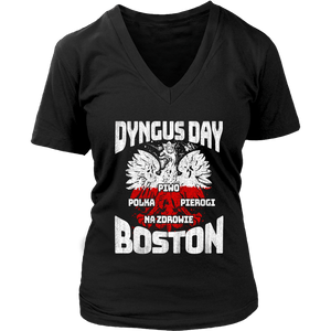Dyngus Day Boston - District Womens V-Neck / Black / S - Polish Shirt Store