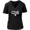 Polish Surname Ending in CZAK - District Womens V-Neck / Black / S - Polish Shirt Store