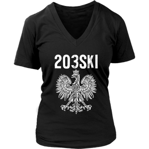 Connecticut - 203 Area Code - Polish Pride - District Womens V-Neck / Black / S - Polish Shirt Store