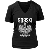 Worcester Massachusetts - 508 Area Code - Polish Pride - District Womens V-Neck / Black / S - Polish Shirt Store