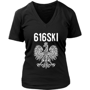 616SKI Grand Rapids Michigan Polish Pride - District Womens V-Neck / Black / S - Polish Shirt Store