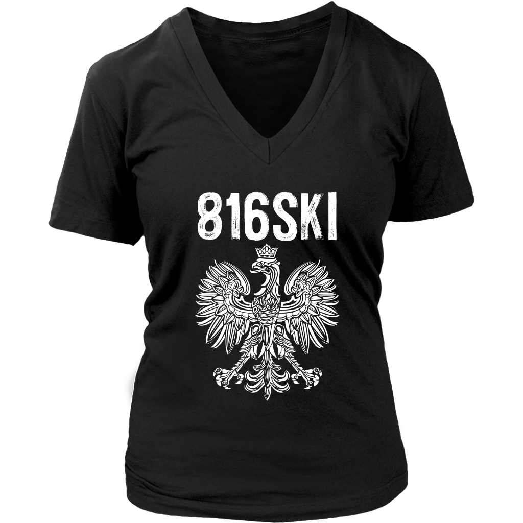 816SKI Missouri Polish Pride - District Womens V-Neck / Black / S - Polish Shirt Store
