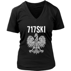 717SKI Pennsylvania Polish Pride - District Womens V-Neck / Black / S - Polish Shirt Store
