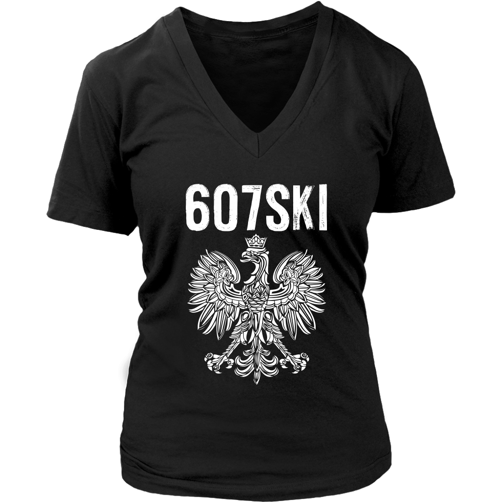 Binghamton NY - 607 Area Code - Polish Pride - District Womens V-Neck / Black / S - Polish Shirt Store
