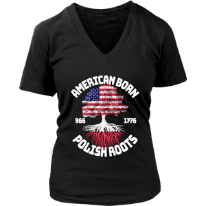 American Born With Polish Roots - District Womens V-Neck / Black / S - Polish Shirt Store