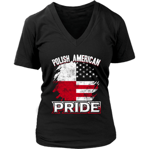 Polish American Pride - District Womens V-Neck / Black / S - Polish Shirt Store