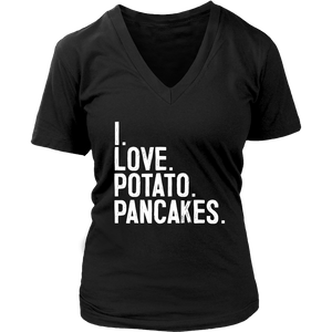 I Love Potato Pancakes - District Womens V-Neck / Black / S - Polish Shirt Store