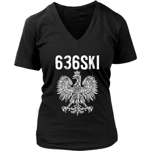636SKI Missouri Polish Pride - District Womens V-Neck / Black / S - Polish Shirt Store