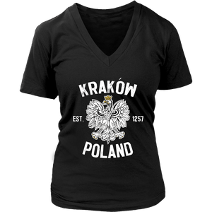 Krakow Poland - District Womens V-Neck / Black / S - Polish Shirt Store
