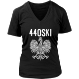 Parma Ohio - 440 Area Code - Polish Pride - District Womens V-Neck / Black / S - Polish Shirt Store
