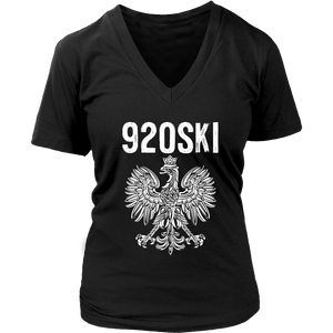 920SKI Wisconsin Polish Pride - District Womens V-Neck / Black / S - Polish Shirt Store
