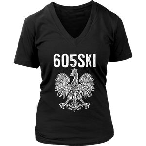 605SKI South Dakota Polish Pride - District Womens V-Neck / Black / S - Polish Shirt Store